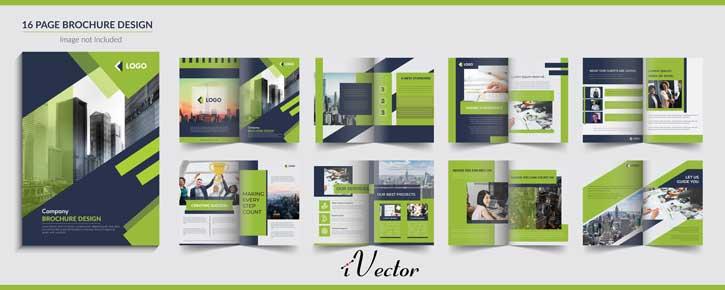 وکتور 16 صفحه ای خلاقانه تجاری با تم رنگی سبز 16 page creative brochure design green