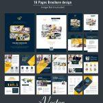 بروشور 16 صفحه ای تجاری وکتور آبی 16-pages corporate brochure design