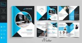 بروشور 8 صفحه ای خلاقانه آبی 8 pages blue brochure design