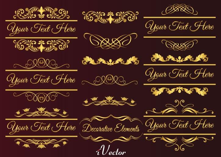 المان های وکتور طلایی gold elements vector
