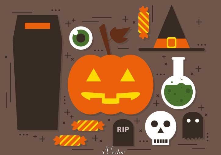 المان ها و آیکون های وکتور هالووین Halloween Icon Vector Art