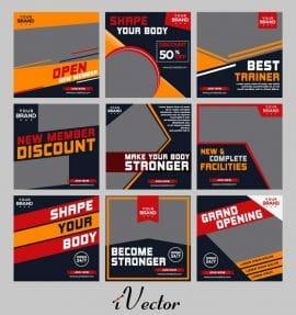 وکتور طرح پوستر باشگاه های ورزشی جهت طراحی بروشور و تبلیغات شبکه های اجتماعی Fitness Gym Advertisement poster flyer social media graphic design template