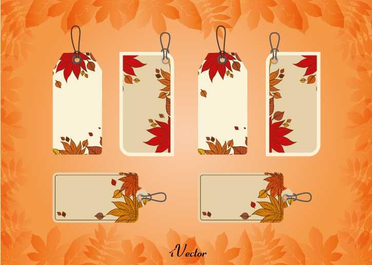 دانلود طرح وکتور تگ تبلیغاتی Vector autumn tag free vector download