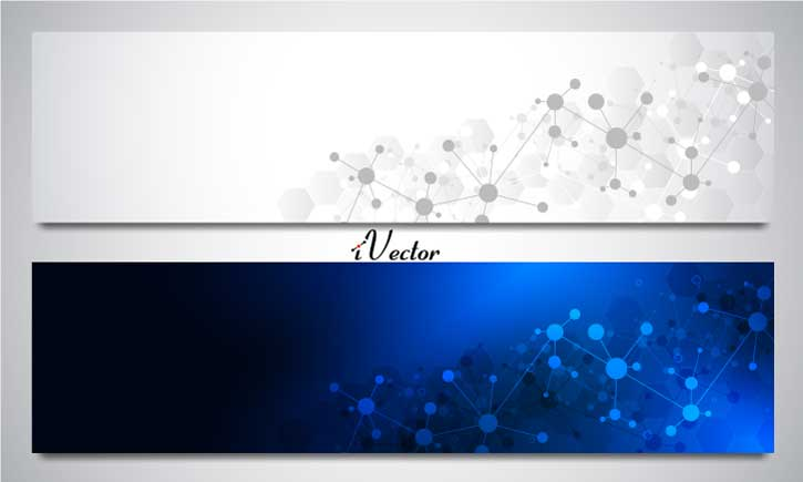 وکتور بنر طرح ملکول در دو رنگ سفید و آبی banners with molecules background neural network