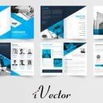 طرح قالب وکتور بروشور آبی مشکی blue black business-brochure template