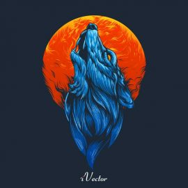 وکتور طرح گرافیکی سر گرگ blue wolf head illustration