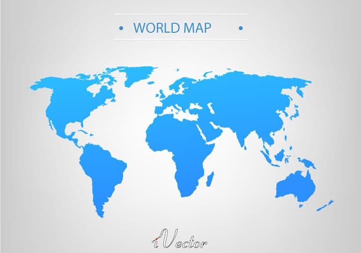 نقشه وکتور آبی رنگ جهان Blue world map Vector