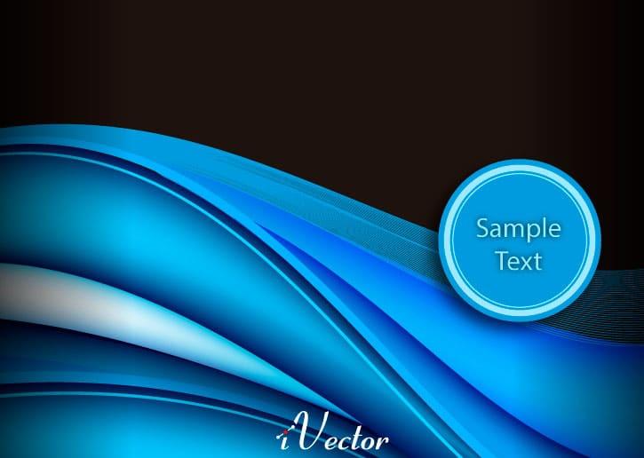 وکتور موج آبی زمینه مشکی blue wave vector illustration