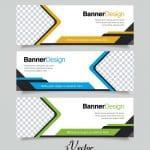 وکتور بنر تبلیغاتی در سه رنگ قهوه ای، سبز، آبی business banner set