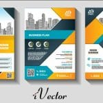 وکتور تراکت تبلیغاتی شرکتی با تم آبی نارنجی business corporative modern flyer template design