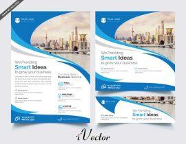 دانلود فلایر تبلیغاتی تجاری با طرح آبی business flyer banner templates