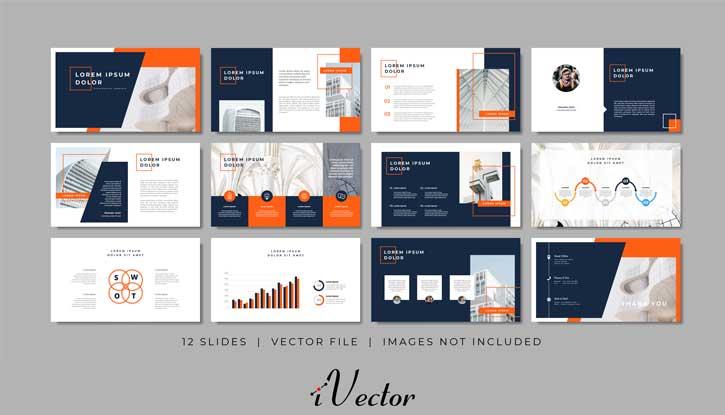 طرح وکتور اسلاید پرزنتیشن business minimal slides presentation template