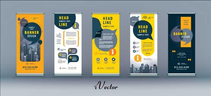 وکتور رول آپ بنر تبلیغاتی تجاری در پنج طرح مختلف با تم رنگی نارنجی business roll up set standee banner template