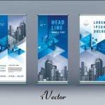طرح وکتور بنر تجاری رول آپ خلاقانه با تم مثلت در پنج طرح business roll up set standee banner template geometric triangle