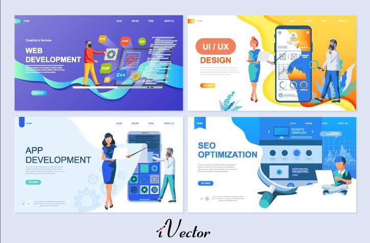 وکتور قالب های آماده با موضوع توسعه وب set templates page web development applications