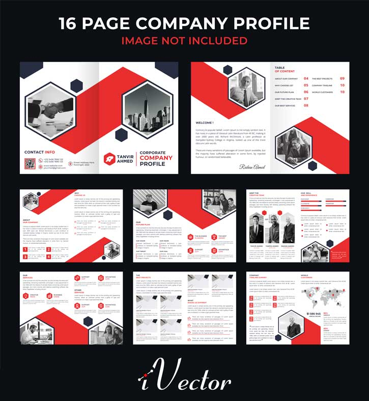 دانلود بروشور 16 صفحه ای شرکتی با تم رنگی قرمز و خاکستری corporate 16 page company brochure catalogue dossier template