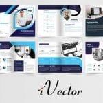 دانلود بروشور وکتور تجاری با تم رنگی آبی corporate brochure proposal template