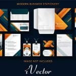 دانلود وکتور ست اداری با تم رنگی نارنجی corporate business identity design vector stationery