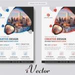 دانلود فلایر تبلیغاتی تجاری در دو طرح و رنگ قرمز و آبی corporate business template vector illustrator