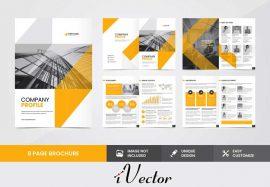 وکتور بروشور تبلیغاتی خلاقانه تجاری با تم رنگ نارنجی corporate company brochure template vector