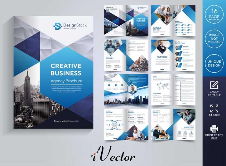 طرح بروشور وکتور شرکتی با تم رنگی آبی و مشکی corporate pages brochure template