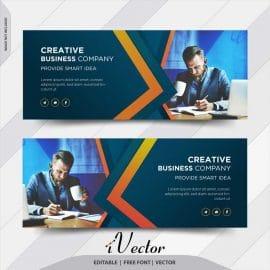دانلود طرح وکتور بنر شرکتی خلاقانه با تم رنگی آبی creative business company banner vector