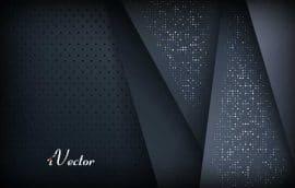 دانلود وکتور زمینه مشکی با طرح نقطه های نقره ای dark background overlap layer with silver glitters