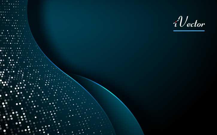 وکتور آبسترکت طرح موج آبی تیره با تم نقطه های نقره ای dark blue abstract wave background