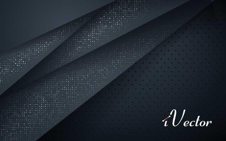 دانلود وکتور ابسترکت زمینه مشکی و طرح نگین های نقره ای dark overlap layers background with silver glitters