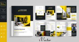 طرح وکتور بروشور8 صفحه ای با تم زرد مشکی yellow 8 page brochure design