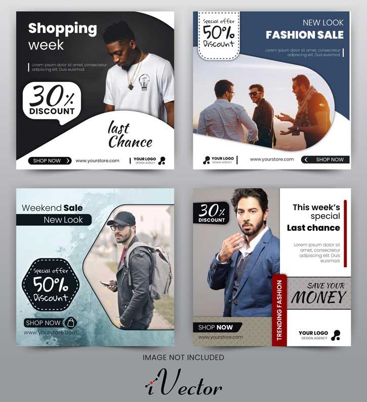 قالب وکتور تبلیغات اینستاگرام در 4 طرح زیبا با موضوع تخفیف به صورت لایه باز discount sale banner