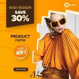طرح وکتور بنر تبلیغات اینستاگرام مخصوص پیج های مد و لباس با تم رنگ نارنجی editable sale banner web instagram