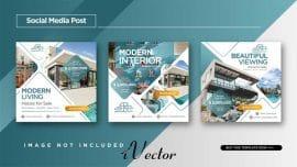 طرج وکتور پوستر تبلیغات آژانس های مسکن و فروش خانه جهت چاپ و تبلیغات در اینستاگرام elegant style real estate home sale instagram post designر