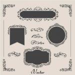 وکتور گل و بوته و کادر اسلیمی جهت طراحی کارت دعوت عروسی elegant wedding badges