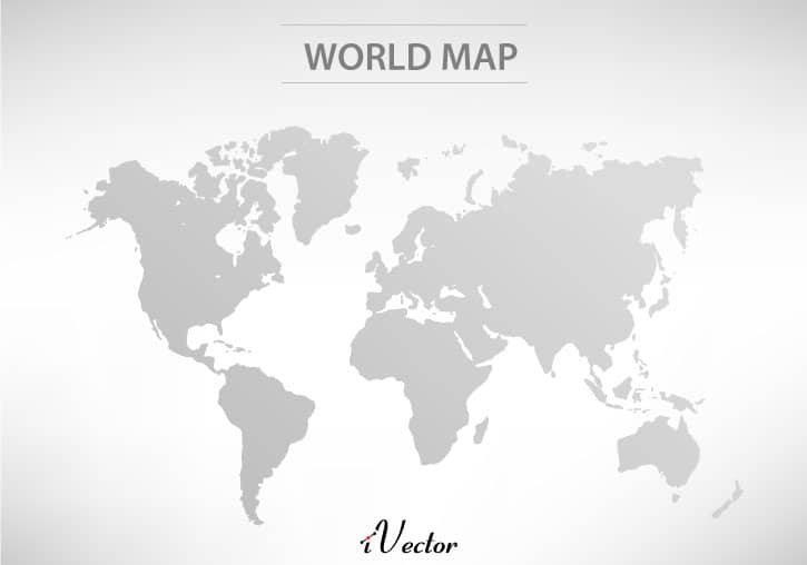 وکتور خاکستری نقشه جهان World Map Free gray Vector