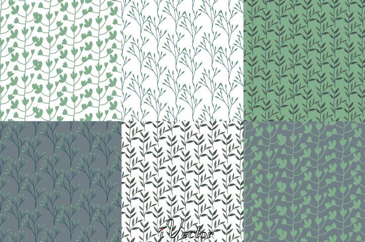 پترن برگ های سبز Green Pattern Free Vector