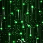 وکتور سبز رنگ زمینه مشکی طرح دیجیتال digital green vector background