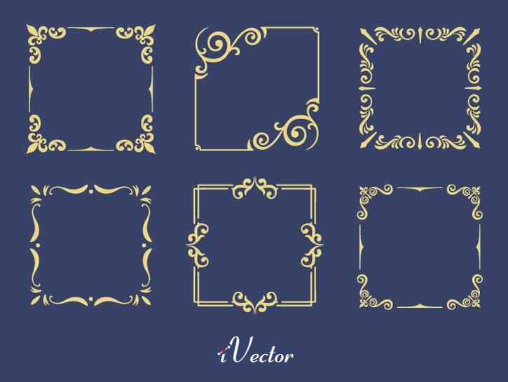 طرح کادر اسلیمی گل و بوته floral ornament vector