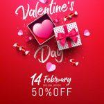 طرح پوستر تخفیف فروش روز ولنتاین با زمینه قرمز وطرح جعبه کادو valentine s day sale poster banner with sweet gift sweet heart lovely items