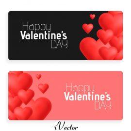 دانلود بنر تبلیغاتی جهت فروش ولنتاین با تم قلب در دو طرح صورتی و مشکی valentines day abstract cards with hearts