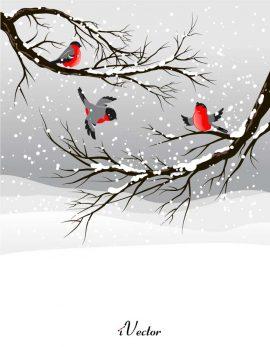 دانلود وکتور لایه باز پرنده ها در زمستان Winter Background Vector Art